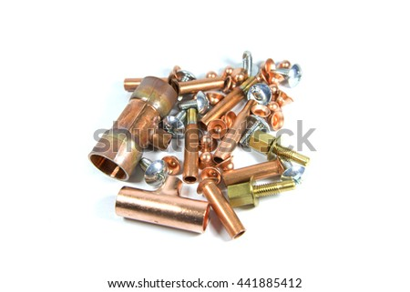 T-joint or Joint or Flare cap coppers, Screws and Brass bolt on white background