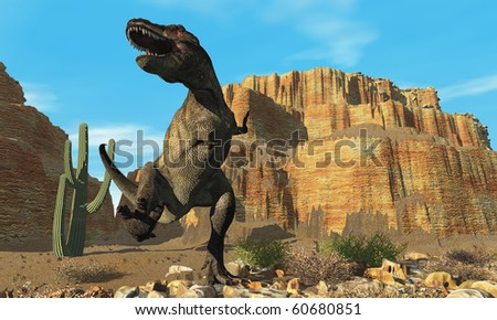 T-REX - A T-Rex roars his defiance to all other dinosaurs in his territory. - stock photo