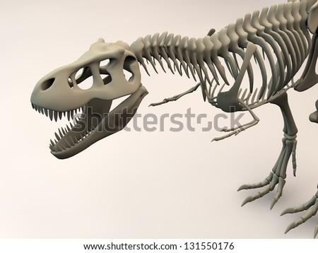 T-Rex 3D skeleton - stock photo