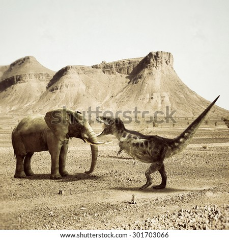 T-rex fighting versus a big elephant in the desert - stock photo