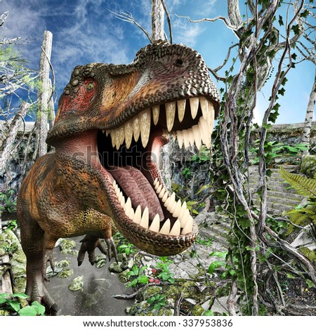 t-rex in the forrest - stock photo