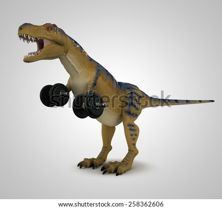 T-Rex lifting weights - stock photo