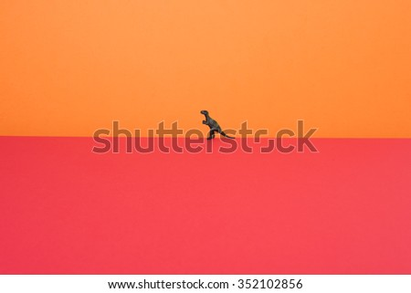 T-Rex on two color layers. Red tone. - stock photo