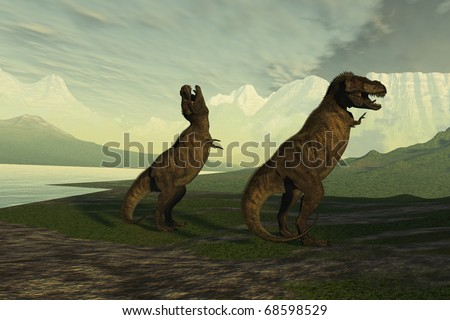 T-REX ROAR - A smaller male Tyrannosaurus Rex roars to impress the much larger female. - stock photo