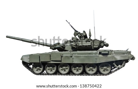 T-90S Main Battle Tank, Russia isolated on white background - stock photo