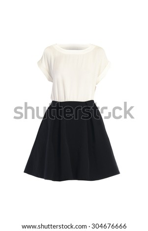 T-shirt and skirt on a white background