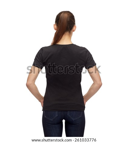 t-shirt design, advertisement and people concept - smiling woman in blank black t-shirt - stock photo