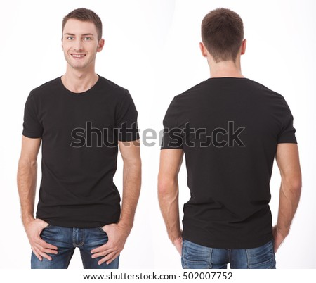 t-shirt design and people concept - close up of young man in blank black t-shirt, shirt, front and rear isolated.