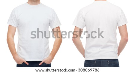 t-shirt design and people concept - close up of young man in blank white t-shirt - stock photo