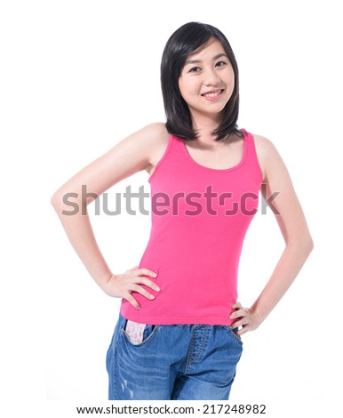 t-shirt design concept - smiling woman in blank t-shirt - stock photo