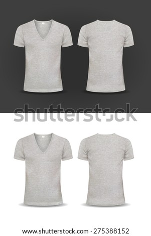 T-shirt Design template women and men u-neck shirt, v-neck shirt, short sleeved, back and front views, raglan sleeve