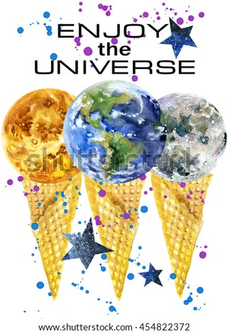 T-shirt design. Universe T-shirt print. t-shirt graphics with Planet of the solar system.  - stock photo