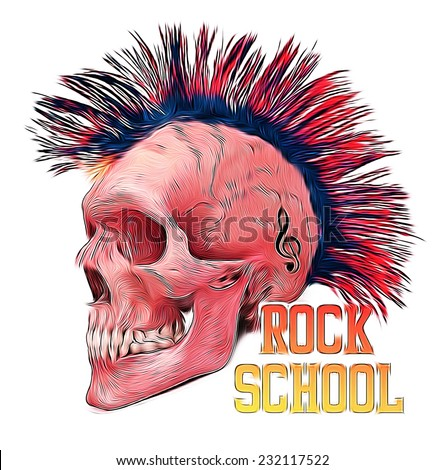 T-shirt Graphics/skull print/skull illustration/evil skull/concert posters/rock and roll themed graphic/Human skull for horror or halloween design/T-shirt graphics for textile - stock photo