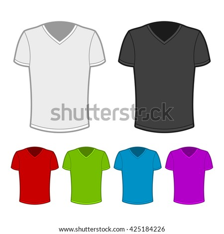 T-shirt in various colors. Illustration on white background.