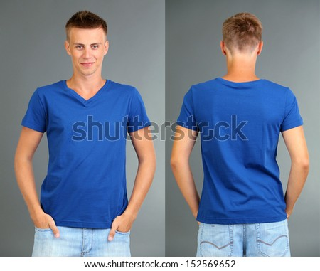 T-shirt on young man in front and behind on grey background - stock photo