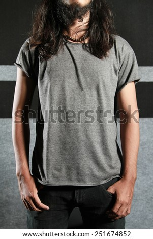t-shirt template, grey color - stock photo