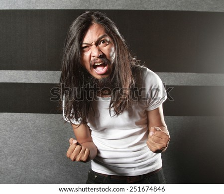 t-shirt template white color with men screaming - stock photo