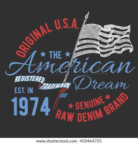 tshirt typography design usa printing graphics stock illustration