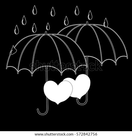 Umbrella Rain Conceptual Sketch On Chalkboard Stock Illustration