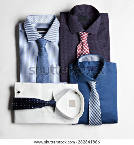 t-shirts with ties isolated in white background in plan - stock photo