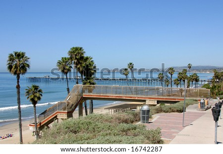 T Street, San Clemente California with Dana Point in the distance - stock photo
