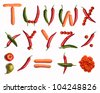 T-U-V-W-X-Y-Z alphabet letters and punctuation marks made with fresh vegetables on the white background (isolated on white).  Make your own words in vegetables. Every letter X large size - stock photo