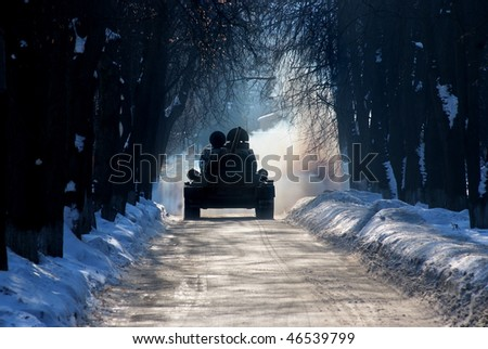 T-34 winter alley in the city - stock photo