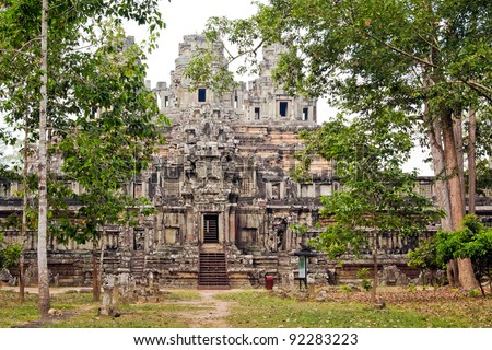 Ta Keo, one of the first temples in Cambodia built of sandstone. Construction was thought to have been interrupted, resulting in little to no decorative carving. Example of Kleang style 10th century. - stock photo