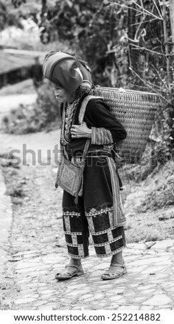 TA PHIN, LAO CAI, VIETNAM - SEP 21, 2014:  Unidentified Red Dao woman in traditional clothes. Red Dao is one of the minority ethnic groups in Vietnam