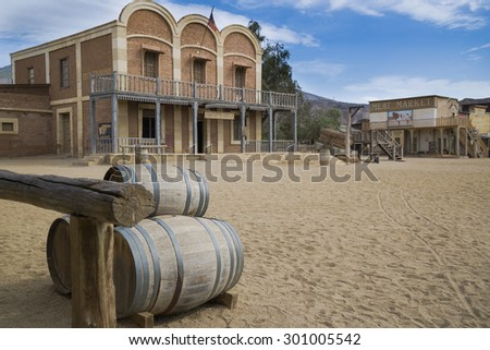 TABERNAS DESERT, ALMERIA, SPAIN - September 19, 2014: sheriff office. wild west town set. - stock photo