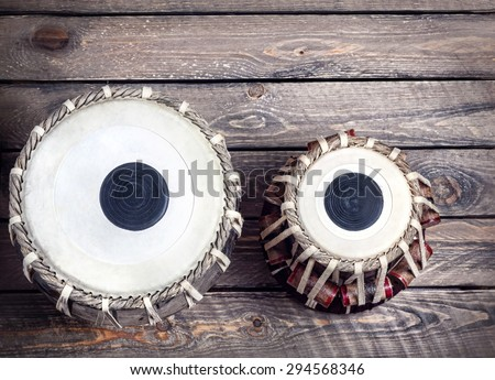Tabla drums Indian classical music instrument close up  - stock photo
