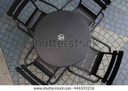 Table and Chair of Coffee Cafe Is Outdoor