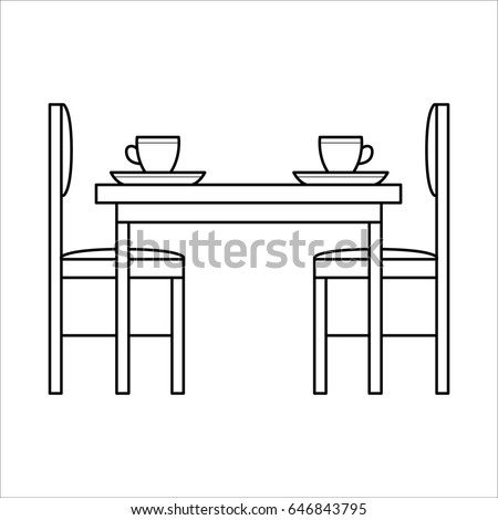 Table chairs dinning room flat icon stock illustration for New line in the table
