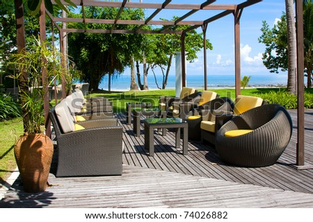 Table and chairs in empty cafe at island Koh Chang , Thailand - stock photo