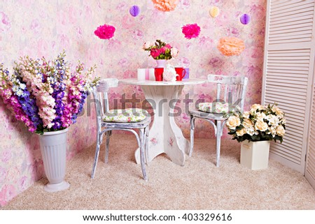 Table and chairs in the style of Provence - stock photo