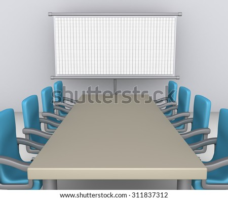 Table and empty armchairs are in front of whiteboard with grid - stock photo