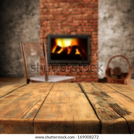 table and fireplace