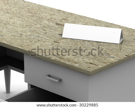table and office tablet. 3d