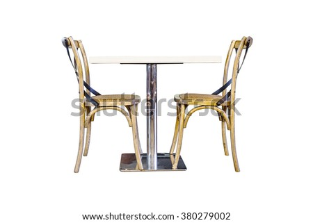 table and two chairs on white background - stock photo
