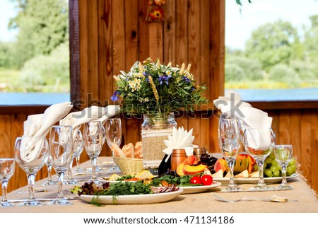 Table appointments for wedding outdoors
