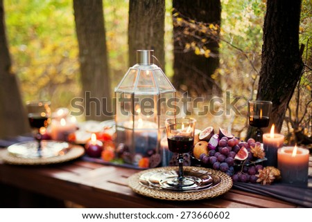 table appointments with beautiful decor - stock photo