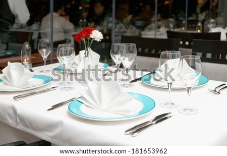 Table arrangement in an expensive fish restaurant - stock photo