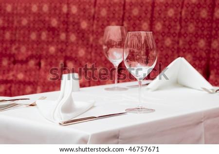 Table arrangement in expensive haute cuisine restaurant - stock photo