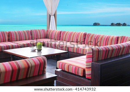 table  at summer terrace - stock photo