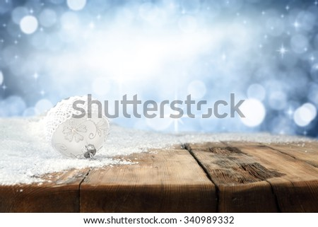 table background of wood retro white ball and snow space  - stock photo