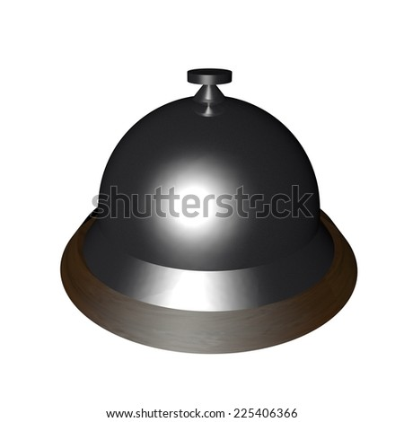 Table bell isolated over white, 3d render - stock photo