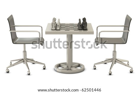 Table, chairs and chess figures isolated on white background