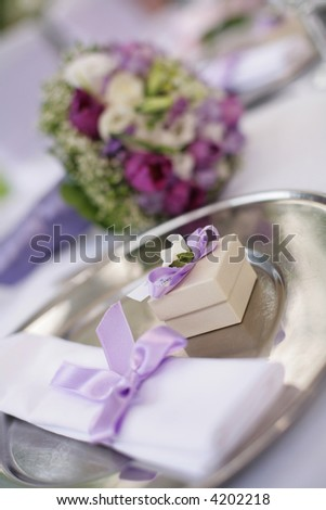 table decorated for the wedding party - stock photo