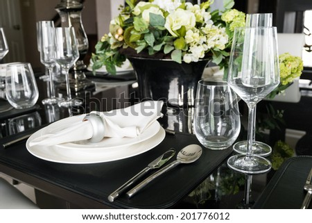 Table decoration for meal time - stock photo
