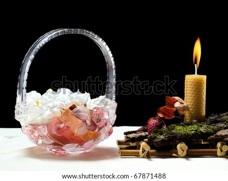 Table decorations usual for special festive occasions... - stock photo
